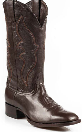 Stetson Boone Calf Skin Boots - Square Toe, Dark Brown, hi-res