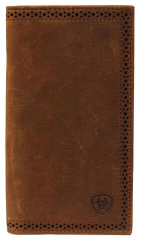 Ariat Perforated Edge Rodeo Wallet, Brown, hi-res