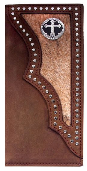 3D Dark Brown Hair-on-Hide Western Rodeo Wallet, Multi, hi-res