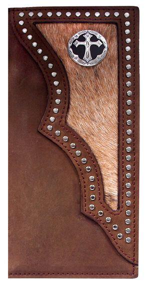 3D Dark Brown Hair-on-Hide Western Rodeo Wallet, Multi, hi-res
