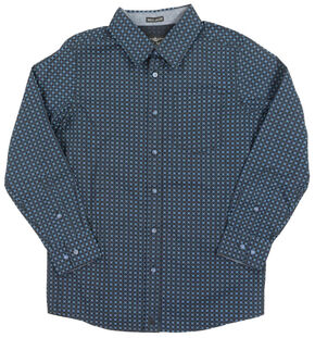 Cody James Boys' Blue Print Long Sleeve Shirt, Blue, hi-res