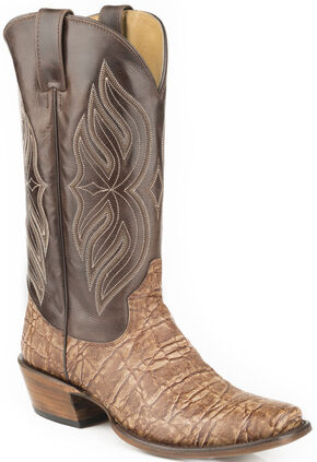 Roper Elephant Print Cowboy Boots - Square Toe, Brown, hi-res
