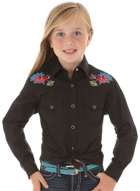 Wrangler Rock 47 Girls' Long Sleeve Floral Embroidery Black Shirt, Black, hi-res