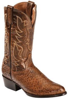 Dan Post Cognac Quilled Ostrich Cowboy Boots - Round Toe, , hi-res