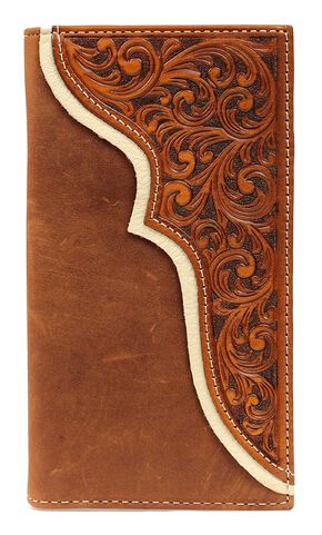 Nocona Tooled Corner Overlay Rodeo Wallet, Med Brown, hi-res