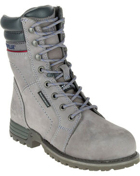 Caterpillar Women's Grey Echo Waterproof Work Boots - Steel Toe, Grey, hi-res