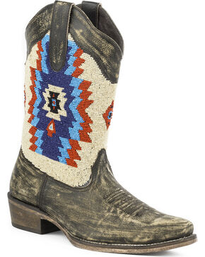 Roper Women's Aztec Beaded Shaft Boot - Snip Toe, Brown, hi-res