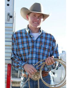 Cinch Men's Blue and Orange Plaid Double Pocket Western Shirt , , hi-res