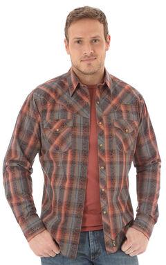 Wrangler Retro Men's Long Sleeve Grey Plaid Snap Shirt, , hi-res