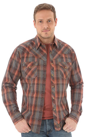 Wrangler Retro Men's Long Sleeve Grey Plaid Snap Shirt, Grey, hi-res