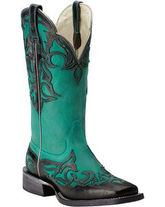 Ariat Cassidy Wingtip Cowgirl Boots - Square Toe, Black, hi-res