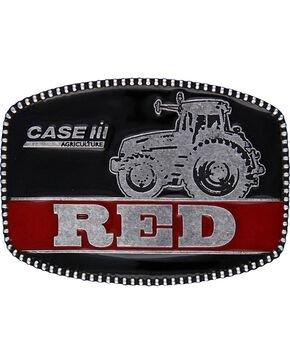 Case IH Red Attitude Belt Buckle, Silver, hi-res