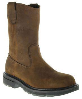 Wolverine Nubuck Wellington Pull-On Work Boots - Steel Toe, Brown, hi-res