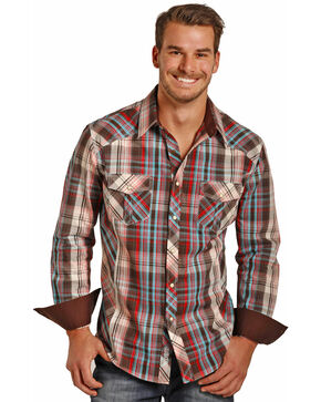 Rock & Roll Cowboy Men's Long Sleeve Twill Plaid Snap Shirt, Brown, hi-res