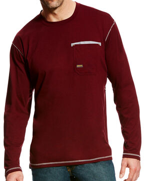 Ariat Men's Wine Rebar Crew Pocket Tee - Big & Tall, Pink, hi-res
