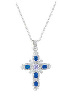 Montana Silversmiths Women's River Of Lights Budded Cross Necklace , , hi-res