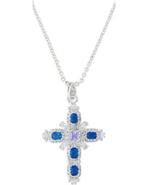 Montana Silversmiths Women's River Of Lights Budded Cross Necklace , Silver, hi-res