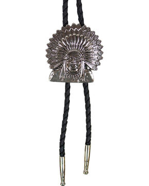 Cody James® Native American Headdress Bolo Tie, Silver, hi-res