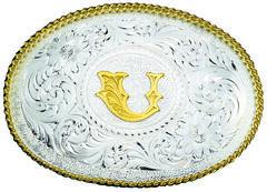 Montana Silversmiths Engraved Initial U Western Belt Buckle, , hi-res