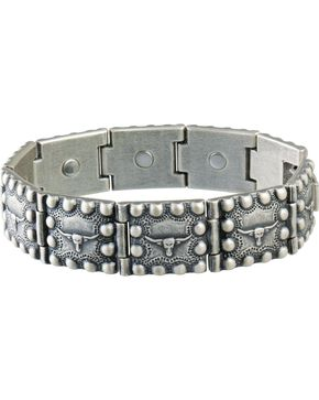 Sabona Men's Steerhead Beaded Edge Magnetic Bracelet, Silver, hi-res
