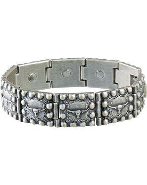Sabona Men's Steerhead Beaded Edge Magnetic Bracelet, Silver, hi-res