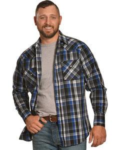 Ely Cattleman Men's Blue Lurex Plaid Shirt , , hi-res