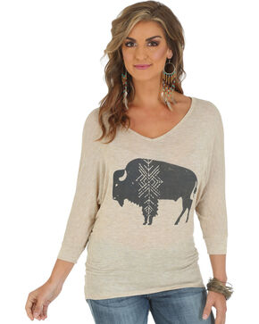 Wrangler Wrangler 3/4-Sleeve Tunic with Bison Graphic, Oatmeal, hi-res