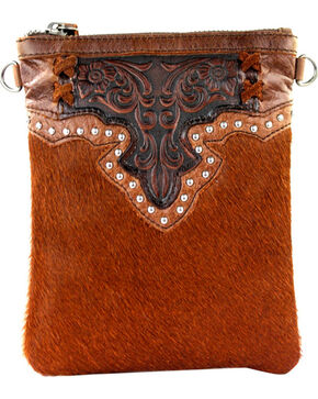 Montana West 100% Genuine Leather Clutch/Crossbody Bag, Brown, hi-res