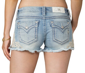 Miss Me Women's Blue Applique Lace Side Shorts, Blue, hi-res