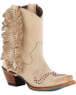 Lane Women's Olivia Cream Fringe Boots - Snip Toe , Cream, hi-res
