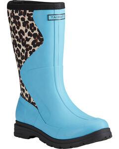 Ariat Women's Aqua Springfield Leopard Print Rubber Boots - Round Toe , , hi-res