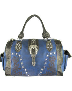 Savana Women's Navy Embroidery and Rhinestone Duffle Bag, , hi-res