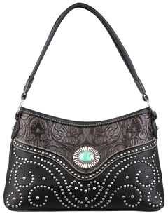 Montana West Trinity Ranch Black Tooled Design Handbag with Single Strap, , hi-res