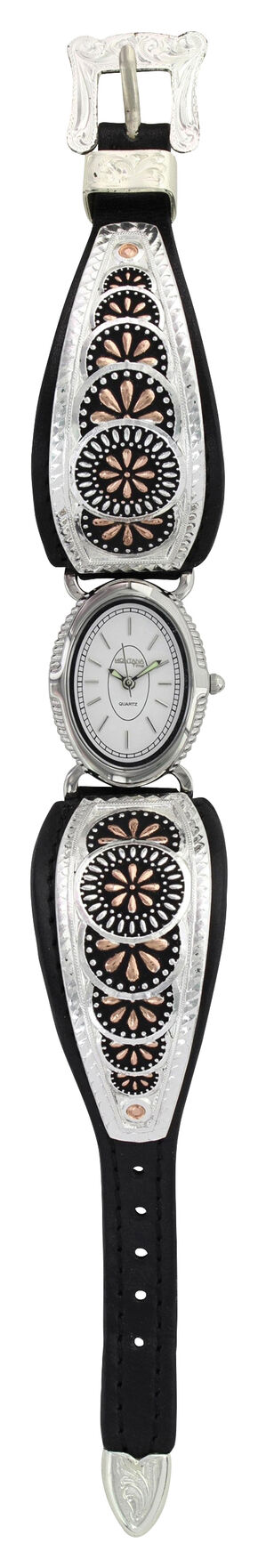 Montana Silversmiths Two Tone Prairie Meadowbrite Leather Watch, Silver, hi-res