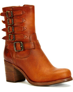 Frye Women's Cognac Kelly Belted Boots, , hi-res