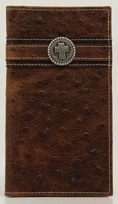 Ariat Ostrich Print Cross Concho Rodeo Wallet, , hi-res