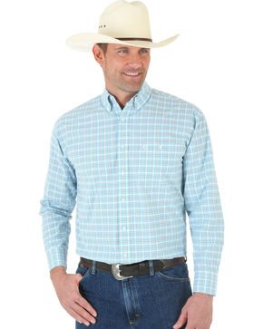 Wrangler George Strait One Pocket White and Turquoise Plaid Shirt, Blue, hi-res