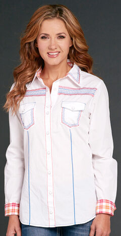 Cowgirl Up White Long Sleeve Embroidered Shirt, , hi-res