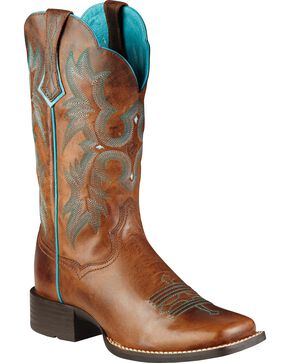 Ariat Brown Tombstone Boots - Wide Square Toe, Brown, hi-res