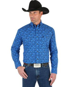 Wrangler George Strait Men's Blue Paisley Shirt, Blue, hi-res