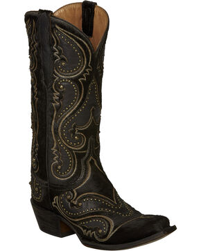 Lucchese Black Lyla Calf Hair Cowgirl Boots - Snip Toe , Black, hi-res