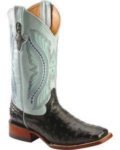Ferrini Full Quill Ostrich Turquoise Embroidered Cowboy Boots - Wide Square Toe, , hi-res
