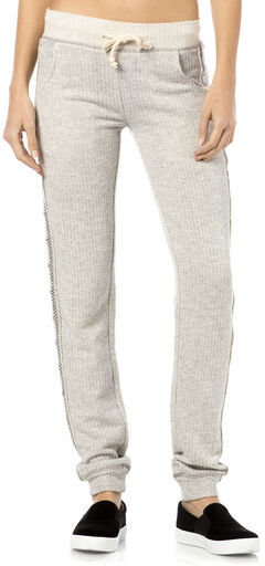 Miss Me Grey Embroidered Sweatpants, , hi-res