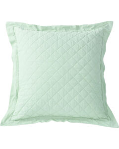 HiEnd Accents Diamond Pattern Quilted Seafoam Linen King Sham, , hi-res