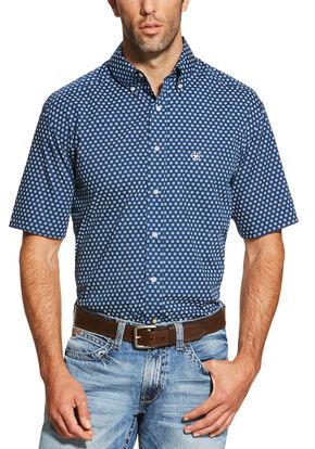 Ariat Men's Navy Neilan Print Short Sleeve Shirt , Navy, hi-res