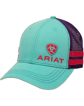 Ariat Women's Aqua Offset Logo Baseball Cap , , hi-res