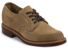 Chippewa Men's Khaki Whirlwind Service Suede Oxford Shoes, Khaki, hi-res