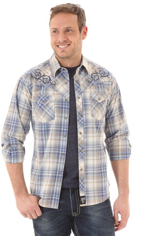 Wrangler Rock 47 Men's Blue Plaid Shirt, Blue, hi-res
