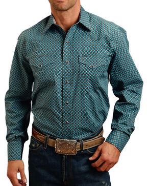 Stetson Men's Blue Geo Print Long Sleeve Snap Shirt, Blue, hi-res