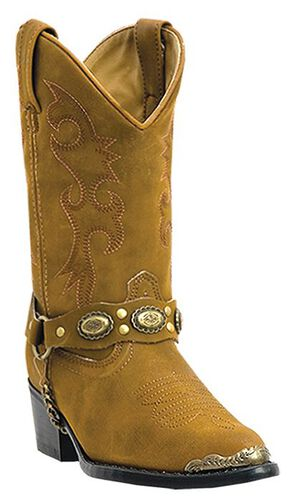 Laredo Girls' Little Concho Tan Harness Cowboy Boots - Round Toe, Brown, hi-res